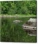 Rock Reflection In The River Canvas Print
