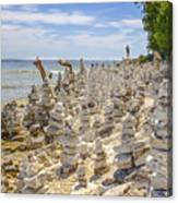 Rock Structures On Lake Michigan Canvas Print