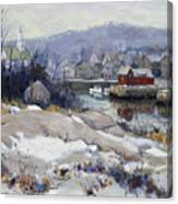 Rockport Harbor In Winter Canvas Print
