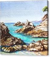 Rocks At Kalamaki Canvas Print