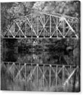 Rocks Village Bridge In Black And White Canvas Print