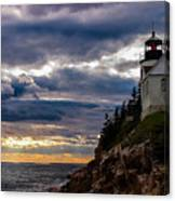 Rocky Cliffs Below Maine Lighthouse Canvas Print