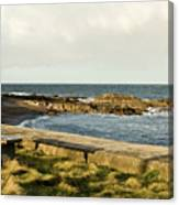 Rocky Coast Bench Canvas Print