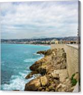 Rocky Coastline In Nice, France Canvas Print