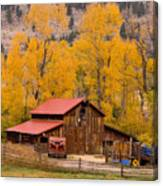 Rocky Mountain Barn Autumn View Canvas Print