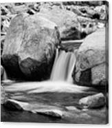 Rocky Mountain Canyon Waterfall In Black And White Canvas Print
