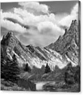 Rocky Mountain Tranquil Escape In Black And White Canvas Print