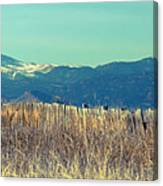 Rocky Mountain Twin Peaks Wood Fence View Canvas Print