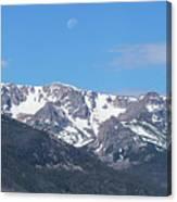 Rocky Mountain Waning Gibbous Moon Set Canvas Print