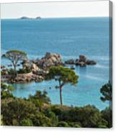 Rocky Outcrop And Coastline Near Palombaggia In Corsica Canvas Print