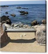 Rocky Seaside Bench Canvas Print