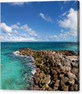 Rocky Shoreline On The Beach At Atlantis Resort Canvas Print