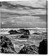 Rocky Waters In Bw Canvas Print