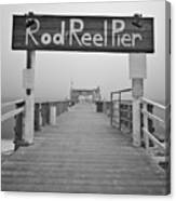 Rod And Reel Pier In Fog In Infrared 53 Canvas Print
