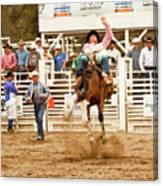Rodeo Cowboy Riding A Bucking Bronco Canvas Print