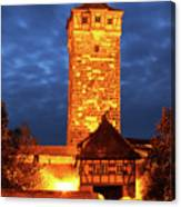 Rodertor At Twilight In Rothenburg Canvas Print