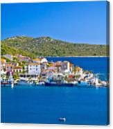 Rogoznica Harbor And Waterfront View Canvas Print