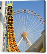 Roller Coaster And Ferris Wheel Canvas Print