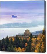 Rolling Fog At Columbia River Gorge In Fall Canvas Print