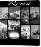 Roma Black And White Poster Canvas Print