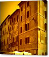 Roman Cafe With Golden Sepia 2 Canvas Print