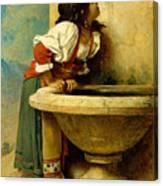 Roman Girl At A Fountain Canvas Print