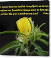 Romans 5 Verses 1 2 Yellow Wildflower Canvas Print