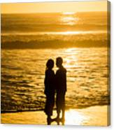 Romantic Beach Silhouette Canvas Print