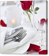 Romantic Dinner Setting With Rose Petals Canvas Print