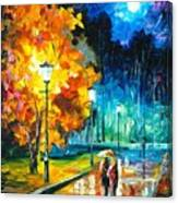 Romantic Night 2 - Palette Knife Oil Painting On Canvas By Leonid Afremov Canvas Print
