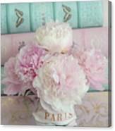 Paris Peonies Floral Books Art - Pink And Aqua Peonies Books Decor - Shabby Chic Peonies  Canvas Print