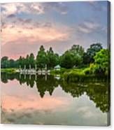 Romantic Pond In Park In Hamburg Canvas Print