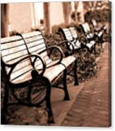 Romantic Surreal Park Bench Pink Sepia Tones Canvas Print