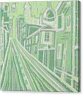 Romantic Town In Green Canvas Print
