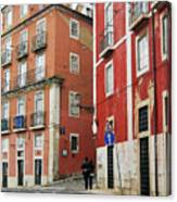 Romantic Walking At Old Lisbon Canvas Print
