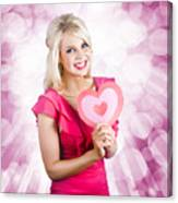Romantic Woman With Heart Shape Valentine Card Canvas Print