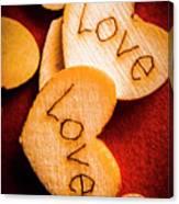 Romantic Wooden Hearts Canvas Print