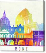 Rome Landmarks Watercolor Poster Canvas Print