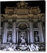 Rome, Trevi Fountain At Night Canvas Print