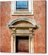 Rome Windows And Balcony Textured Canvas Print