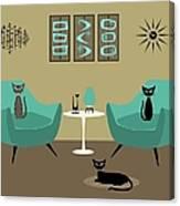 Room With Dark Aqua Chairs 2 Canvas Print