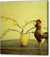 Rooster At Sunrise Canvas Print