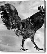 Rooster-black Canvas Print