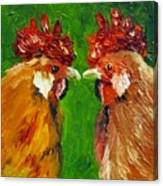 Rooster Face Off Canvas Print