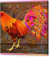 Rooster Peacock Canvas Print