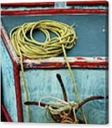 Ropes And Rusty Anchors On A Boat Deck Canvas Print