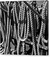Ropes For The Rigging Bw 1 Canvas Print