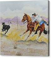 Ropin' A Dogie Canvas Print