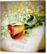 Rose And Bottle Canvas Print