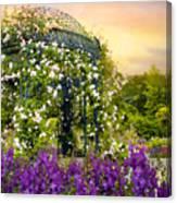 Rose Arbor At Sunset Canvas Print